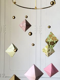 Mid Century Mobile - Geometric Baby Mobile - Modern Paper Mobile - Origami Baby Mobile - Modern Baby - Geometric Decor - Hanging Baby Mobile