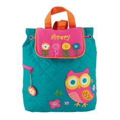 Personalized Teal Owl Embroidered Backpack | Dibsies Personalization Station