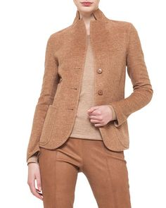 B31DB Akris Long-Sleeve Button-Front Cashmere Jacket, Roggen/Birke
