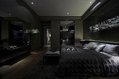 Schlafzimmer Black bedroom Bed shopping advice for the tired shopper It is a fact that the local lib Black Bedroom Design, Luxury Bedroom Design, Black Interior Design, Home Room Design, Master Bedroom Design, Interior Modern, Home Decor Bedroom, Bedroom Black, Industrial Bedroom Design