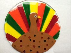 Glass Fusion Turkey-Thanksgiving Fused Glass. Starving Artist Studio