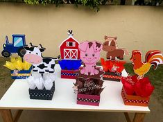 Farm Theme birthday party wood guest table centerpiece decoration Farm Animals Farm baby shower Farm Animals Birthday Farm Birthday SET OF 6 Farm Animal Birthday, Farm Birthday, Birthday Crafts, Party Table Centerpieces, Centerpiece Decorations, Farm Party, Barnyard Party, Birthday Party Tables, Farm Theme