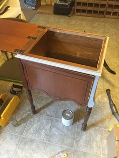 Sewing Machine Cabinet to Liquor Cabinet With Glass Top for Serving. & Repurposed sewing table turned into porch cooler. Used old sink from ...