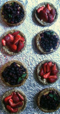 RECIPE: Sumac-Spiced Lemon Curd Tarts: Almond Thyme Crust with Strawberries & Walnut Brown Sugar Crust with Black Raspberries