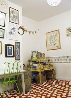 Polka dots on the floor. Living With Kids: LaTonya Staubs