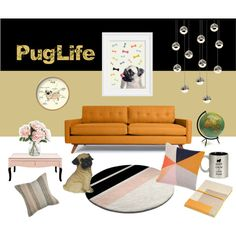 A home decor collage from December 2016 featuring sewing furniture, mirrored side table and pug lamp. Mirrored Coffee Tables, Interior Decorating, Interior Design, Keep Calm And Love, Pug Life, Pugs, Gallery Wall, Interiors, Polyvore