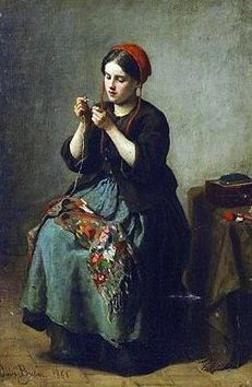 Peasant Woman Threading a Needle Jules Breton(1827-1906) French