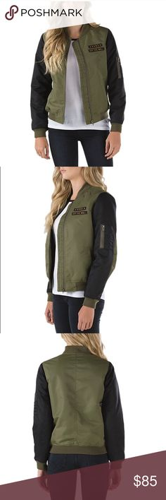 Vans Jacket. military-inspired satin nylon jacket with contrast polyester sleeves, polyester insulation and lining, and patches at the chest. Model is wearing size small. Worn once. Vans Jackets & Coats