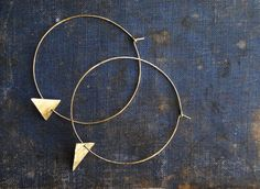 Golden Brass Hoops with Triangle Accent by SDMarieJewelry on Etsy, $26.00