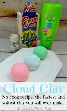 Cloud Clay recipe, only need two things to make this NO COOK recipe. The fastest and softest clay you will ever make #Playdough, #Clay, #DI...