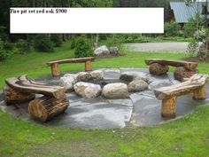 DIY seating for firepit in backyard next time solid wood logs available for free on craigslist.