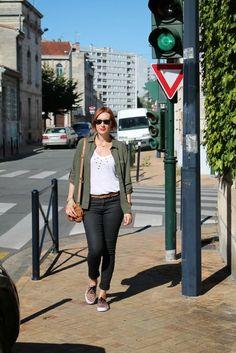 Leopard Vans, Sandro studded t-shirt, HM black skinny jeans, Rayban Wayfarer, Zara green army shirt, Kary leather bag ---------- Yiyou from Mars Blog
