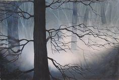 "Trees & Mists, watercolor, 15""x22"", VClaff, 2015"