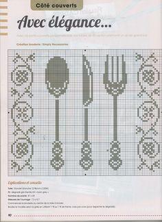0 point de croix grille et couleurs de fils couverts, fourchette et couteau