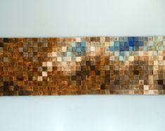 Holz-Wand-Kunst, Modern, 3D Abstrakt dünne Holzstreifen, handgemalt, gefärbt und lackiert. Jedes Stück ist einzigartig in Acryl oder Holz Farbstoff Farben von mir gemalt gemischt und in jedem Shop nicht vorhanden, so dass die Skulptur einzigartig und einzigartig. Jedes Holzstück wird von Hand geschliffen, gefärbt oder bemalt, diese modernen abstrakten Look Stück. Holzstücke nebeneinander hängen werden, füllen Sie größere Wandflächen. Skulptur ist glatt zu berühren und Mattlack wird gegeben…