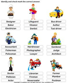Kindergarten Vocabulary Worksheet: Identify the job #EarlyEducation #LanguageArts