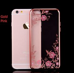 Plated Bling Diamond I7 Plus Cases Flower Phone Cover For iphone 6 6S 7 7PLUS Fashion Girls women cases