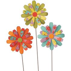 Set of 3 metal flower-shaped garden stakes.   Product: Garden stakeConstruction Material: MetalColor:
