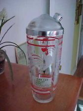 Awesome Vintage Glass Cocktail Shaker with Drink Recipes ROOSTER design on front