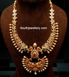CZ Necklace latest jewelry designs - Page 2 of 33 - Indian Jewellery Designs Indian Jewellery Design, Jewelry Design, Cz Jewellery, Peacock Necklace, Gold Necklace, Design Page, India Jewelry, Bridal Jewelry, Gold Jewelry