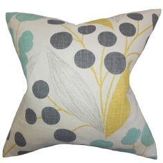 The Pillow Collection Geneen Floral Linen Throw Pillow