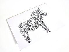 Dala Horse Greeting Cards Set of 4, Swedish Scandinavian -  White Black Scroll Dala. Handmade by studioLISE.via Etsy.