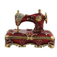 Beautiful vintage sewing machine trinket box with enamel and Swarovski crystals on gold | Tumblr
