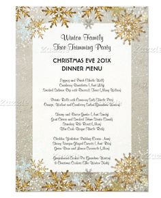 beach sand and gold snowflakes custom christmas dinner menu personalize with family name - Christmas Menu Template