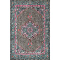 Surya Zahra Vintage-Inspired Teal and Gray Hand Knotted Wool Rug
