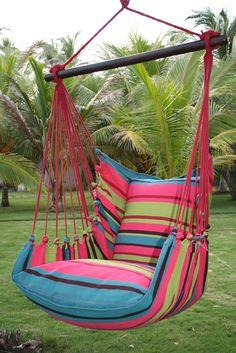 Hammock chair, made in El Salvador Indoor Hammock Bed, Backyard Hammock, Indoor Swing, Hammock Swing, Porch Swing, Macrame Hanging Chair, Hanging Beds, Design Patio, Design Design