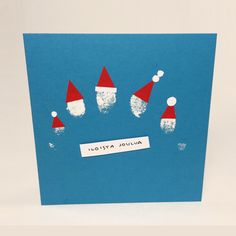 Sormitonttukortti. lasten | askartelu | joulu | joulukortit | käsityöt | koti | DIY ideas | kid crafts | christmas | home | cards | Pikku Kakkonen
