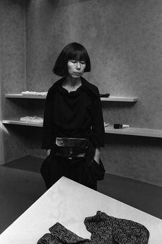 Rei Kawakubo at the opening of the Comme des Garçons shop in Henri Bendel, 1983.
