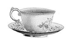 Digital Stamp Design: Free Tea Cup Digital Stamp: Pretty Tea Cup and Saucer Illustration 1913