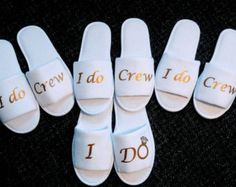 Bridesmaids Gifts- Bridesmaid Slippers - Bride Slippers - Slippers- Wedding Slippers - Bridal Slippers - Custom Slippers - I do crew