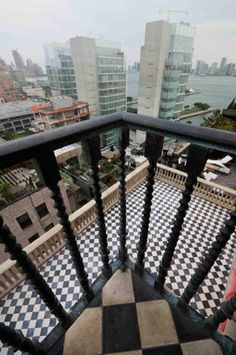 Palazzo Chupi, NYC, a building by artist Julian Schnabel St. Porch And Terrace, Balcony Flooring, Natural Flooring, Empire State Of Mind, Home Board, Natural Area Rugs, Floor Design, Tile Patterns, New York City