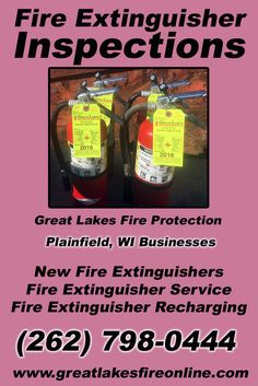 Fire Extinguisher Inspections Plainfield, WI (262) 798-0444 Call the Experts at Great Lakes Fire Protection.. We are the complete source for Fire Extinguisher Service for Local Wisconsin Businesses We would love to hear from you.. Call us Today!
