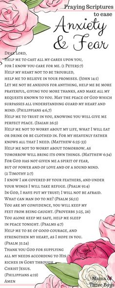 During times of Anxiety, take time to open your bible and read through these verses out loud. Meditate on them during your periods of doubt, and fear, and restlessness. Ask the Lord to quiet your mind. Prayer Board, My Prayer, Power Of Prayer, Healing Prayer, Miracle Prayer, Prayer Room, Daily Prayer, Prayer Scriptures, Bible Prayers