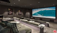 - Home Theater Home Theater Room Design, Home Cinema Room, Home Theater Rooms, Hollywood Hills Homes, Sala Grande, Modern Mansion, New Homes, House Design, Interior Design