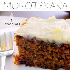 ViktVäktarvänlig morotskaka - 4 ProPoints per bit Whole Wheat Carrot Cake, Best Carrot Cake, Single Layer Carrot Cake Recipe, Köstliche Desserts, Delicious Desserts, Yummy Food, Baking Recipes, Cake Recipes, Dessert Recipes