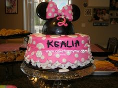 Ruffled Minnie Mouse themed cake for a girl's 2nd birthday!