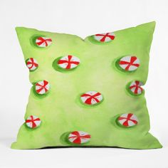 Rosie Brown Christmas Candy Throw Pillow | DENY Designs Home Accessories    #pillow #throwpillow #homedecor #christmas #art #children #denydesigns