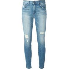 Current/Elliott The High Waist Ankle Skinny ($243) ❤ liked on Polyvore featuring jeans, pants, bottoms, blue, high waisted distressed skinny jeans, high-waisted jeans, blue jeans, skinny jeans and high waisted skinny jeans