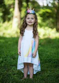 High-low summer sundress with an asymmetrical rainbow print on the front and the back. Any accessories shown are not included. Toddler Boutique Clothing, Wholesale Children's Boutique Clothing, Girls Boutique, Cute Girl Outfits, Trendy Outfits, Tutus For Girls, Flower Dresses, Toddler Dress, Winter