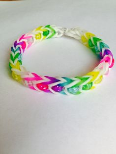 Rainbow Loom Bracelet Beaded Fishtail using the Monster Tail Mini Barrel Pony Beads White and Rainbow Colors Jelly Bands