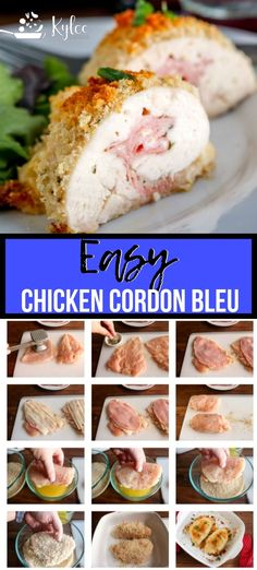 Baked Chicken Cordon Bleu, Easy Baked Chicken, Easy Chicken Recipes, Chicken Cordon Blue Easy, Chicken Cordonblue Recipe, Keto Chicken, Best Chicken Cordon Bleu Recipe, Chicken Cordon Bleu Ingredients, Dinner For One