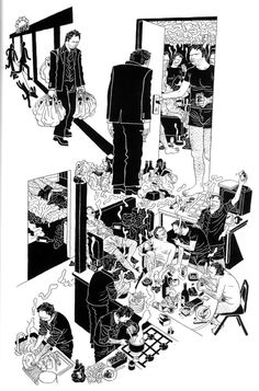 """dustinweaver: """" A page from Six Hundred And Seventy-Six Apparitions of Killoffer by French artist Patrice Killoffer. I liked this book a lot. Graphic Novel Illustration, Graphic Novel Art, Drawings, Illustration Art, Graphic Novel, Comic Book Layout, Art, Comic Drawing, Storyboard Illustration"""