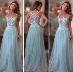 Light Sky Blue Prom Dress 2016 Princesses Lace Prom Gown Sexy Lace Evening Dresses For Teens