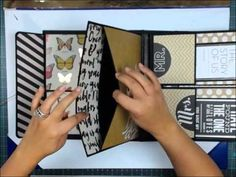 "Covers & Spine for the ""LARGE Album"" using the Ultimate DIY Scrapbook Printable Template Mini Albums, Mini Photo Albums, Mini Scrapbook Albums, Scrapbook Page Layouts, Scrapbook Cards, Tutorial Scrapbook, Mini Album Tutorial, Album Book, Handmade Books"