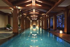 The gorgeous heated indoor pool at the InterContinental OneThousand Island Lake Resort surrounds you in luxurious warmth.