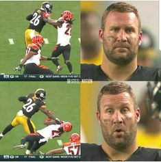 Ben Got Impressed ! Pitsburgh Steelers, Pittsburgh Steelers Football, Pittsburgh Sports, Best Football Team, Football Players, Steelers Tattoos, Steelers Stuff, Nfl Memes, Football Memes